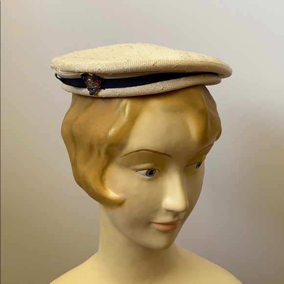 Vintage 1940's Nautical Summer Pancake Hat Topper